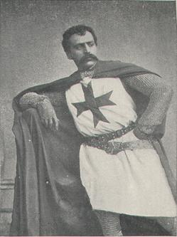 "Eugène Oudin (1858–1894) as the knight Templar Gilbert in Sir Arthur Sullivan's opera ""Ivanhoe"""