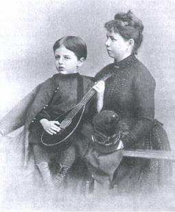 Olga Tchaikovskaya, together with her adoptive son Georgy, pictured in 1886