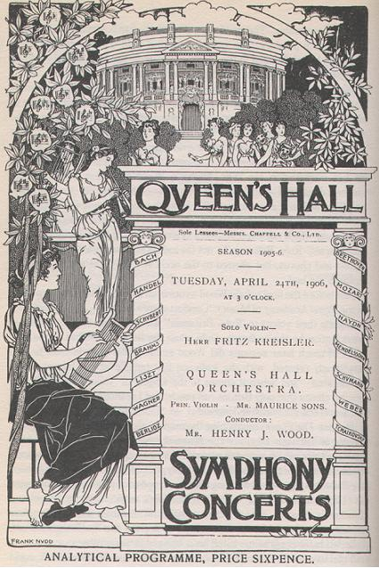 Printed programme for a weekday afternoon symphony concert at the Queen's Hall, London, in 1906